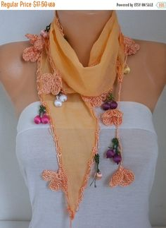 Spring Celebrations Fashion Orange Scarf Cotton Easter by fatwoman Fall Scarves, Summer Scarves, Knit Scarves, Evening Shawls, Butterfly Scarf, Orange Scarf, Scarf Necklace, Cowl Scarf, Cotton Scarf