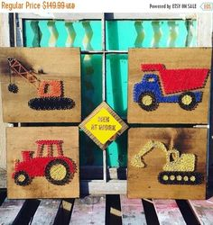 Set of 4 12x12 string art signs For your little ones construction zone! This fun set consists of a crane, tractor, dump truck and excavator. Men at Work sign thrown in to round out the set! Silver nails create the shape of each vehicle while colorful strings fill them in. All on dark