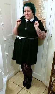 peter pan collar black white dress plus size