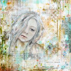 Gentle heart, Mixed media painting on canvas © 2014 Laly Mille