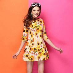 J76409 Europe fashion printing cotton dress [J76409] - $16.05 : China,Korean,Japan Fashion clothing wholesale and Dropship online-Be the most beautiful Lady