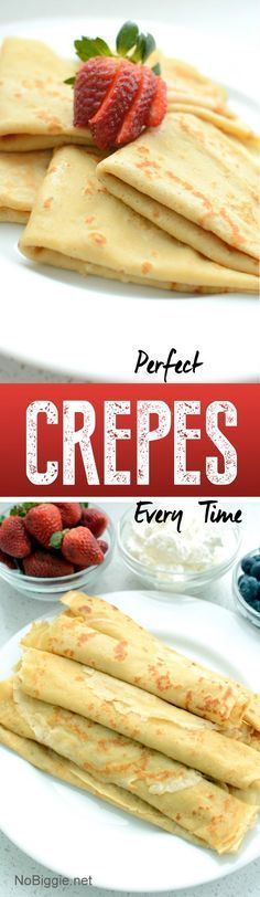 Crepes every time Perfect Crepes every time. This fool proof recipe makes the best crepes every time. Savory or sweet!Perfect Crepes every time. This fool proof recipe makes the best crepes every time. Savory or sweet! Breakfast Dishes, Breakfast Ideas, Breakfast Toast, Sweet Breakfast, Breakfast Dessert, Perfect Breakfast, Brunch Ideas, Breakfast Casserole, Sweet Recipes