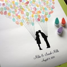 Custom Silhouette Wedding Guest Book Alternative 18x24 Print with Fingerprint Balloon and your Silhouette made from your photos from Simply Silhouettes