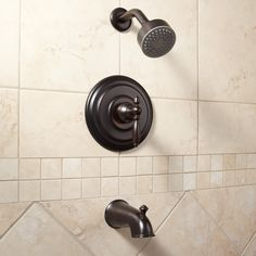 Dolce Tub & Shower Set with Lever Handle - Dark Oil Rubbed Bronze    #masterbath #bathroom #renovation #signaturehardware