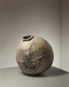 Tsujimura Shiro Jar, 2005. Stoneware, ash glaze. 20 in. high. Incised with artist's mark.