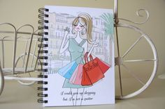 Shopping Lover illustrated notebook South France | Etsy Arc Planner, Planner Inserts, Planner Pages, Happy Planner Cover, Mini Happy Planner, Lined Notebook, Journalling, Filofax, Graduation Gifts
