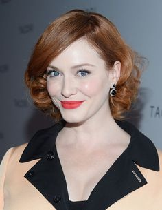 Josie loves this one ....Christina Hendricks Short Haircut - Lovely Short Hairstyle for Oval Face Shapes
