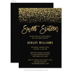Glamorous Black And Gold Glitter Sweet 16 Birthday Party Invitations 21st