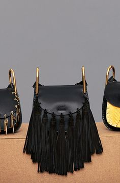CHLOE MINI SHOULDER BAG HUDSON IN SMOOTH CALFSKIN & NAPPA LAMBSKIN WITH FULL SUEDE TASSELS BLACK