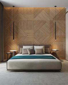Beautiful wooden bed back by Ukraine based firm studiodenew Wood Bedroom Sets, Bedroom Furniture Design, Modern Bedroom Design, Master Bedroom Design, Bedroom Wall, Bedroom With Wood Wall, Modern Bedrooms, Contemporary Bedroom, Bedroom Storage