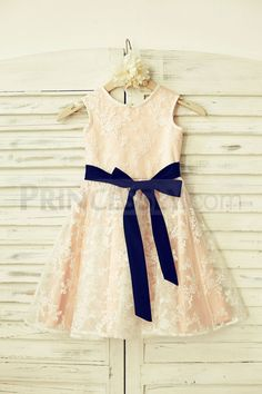 Lace Flower Girl Dress with navy blue sash /Blush Pink Lining