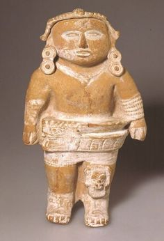Ball game player. This figure originates from Veracruz and therefore not from Mayan area. Nevertheless, it illustrates how a ball game player was dressed. He wore a broad leather belt around the hips which was shaped like a horseshoe. Wearing a knee pad was very important because it allowed the player to shoot low balls with the hip.  Ceramic, Mexico, Veracruz culture, late classical period, 600 900 A.D., Museum Volkenkunde Leiden, photo: B. Grishaaver