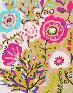 Flowers Bohemian Garden Painting  - Flowers Bohemian Garden Fine Art Print