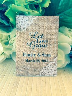 Custom Country / Shabby Chic Burlap and white  Lace Design Personalized Wedding Seed Packet Favors
