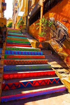 befairbefunky: Funky street art ~ colorfull public stairs By DIHZAHYNERS in Beirut, Lebanon. Photo by Nadim Kamel Stair Art, Street Art Utopia, Street Graffiti, Stairway To Heaven, Public Art, Public Spaces, Urban Art, Architecture, Photo Art