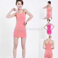 Fashion Women Slim Long Tank Top Sleeveless T-shirt Vest Camisole 23 Colors GBW in Clothing, Shoes & Accessories | eBay