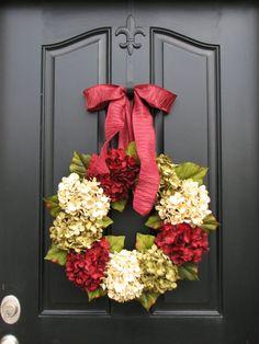 Wreath, Holiday Wreaths, Christmas Wreath, Christmas Hydrangeas, Front Door Wreaths, Holiday Home Decor
