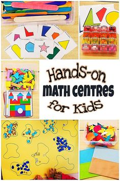5 Hands-on math centres for young kids to practice various areas if math such as shapes and sorting.  Free printables  #mathcentreskindergarten #mathforkids #funmath #mathactivitiespreschool #mathactivities