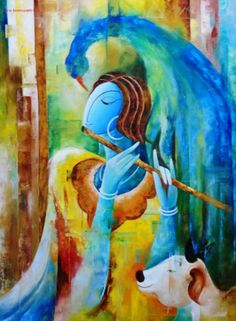 I cherish wonderful confluence of artistry & devotion in Indian aesthetic . so beautifully demonstrated here Indian Aesthetic, Indian Contemporary Art, Krishna Painting, Angel Art, Indian Paintings, I Wallpaper, Indian Art, Painting & Drawing, Krishna Leela