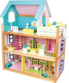 Ein Traum in Pastellfarben. Ein Puppenhaus aus Holz zum Träumen. Hier würden alle Puppen gerne einziehen und es sich richtig gemütlich machen. Jeder Raum ist individuell gestaltet und mit einem kleinen Fahrstuhl erreichbar. Durch die Fensterläden kann ordentlich durchgelüftet werden, damit wieder frischer Wind weht. Für Kinder ein absoluter Traum zum Bespielen. ca. 60 x 30 x 74 cm