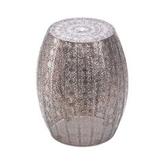 "Morocan Lace Stool, Looking for a glamorous room accent with serious ""wow"" factor? This is it! The marvelous Moroccan Decorative Stool features an intricate and dazzling pattern and is a luxurious side table, display stand, or stool. Place it indoors or outside and admire its shimmer and shine!"