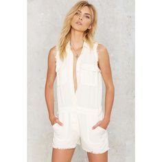 Raw Deal Cargo Romper (€79) ❤ liked on Polyvore featuring jumpsuits, rompers, white, white romper, playsuit romper, long-sleeve romper, white rompers and long-sleeve rompers