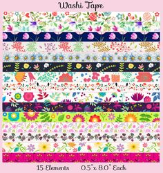 Printable Floral Washi Tape: For Collage by BubblewaterDesigns