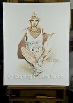 """The Original Sara Moon """"Active"""" For Sale Moon Painting, Painting & Drawing, Moon Art, Oil On Canvas, Original Artwork, Art Gallery, Website, The Originals, Coffee"""