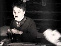 """The 'Roll Dance' segment from Charlie Chaplin's silent film called """" The Gold Rush"""" 1925."""
