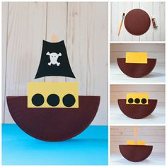 Paper plate pirate ship craft collage
