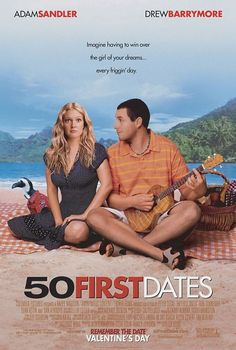 50 First Dates (Widescreen) on DVD from Sony Pictures Home Entertainment. Directed by Peter Segal. Staring Drew Barrymore, Adam Sandler, Rob Schneider and Sean Astin. More Comedy, Romance and Movies DVDs available @ DVD Empire. 50 First Dates, See Movie, Movie Tv, Adam Sandler Movies, Bon Film, Film Le, Movies Worth Watching, Chick Flicks, Romantic Movies