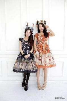 How darling!!! This may be my first encounter with orange in Lolita as well!    These are nice outfits!!