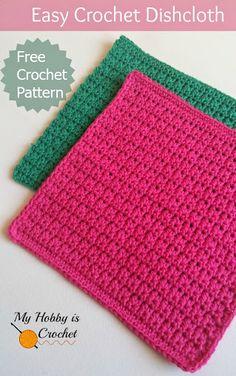Easy Crochet Dishcloth - Free Crochet Pattern - Written Instructions and Crochet Chart dish cloths Crochet Simple, Knit Or Crochet, Crochet Gifts, Learn To Crochet, Free Crochet, Crochet Chart, Wash Cloth Crochet Pattern, Crochet Geek, Crochet Wash Cloths
