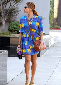 Eva Mendes: 'Place Beyond the Pines' at TIFF Next Month!: Photo Eva Mendes wears a blue patterned dress while out and about on Wednesday (August in West Hollywood, Calif. Eva Mendes, Ryan Gosling, Boyfriend Jeans, Street Style Summer, Her Style, Style Guides, Nice Dresses, Celebrity Style, Celebs