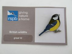 Charity Pin Badge RSPB Enamel Giving Nature A Home Great Tit British Wildlife