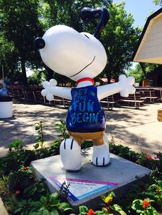 """STATE FAIR SNOOPY: Snoopy's shirt says it all! This is one of four Peanuts on Parade sculptures designed around a Minnesota State Fair theme and placed throughout the fairgrounds. Can you find """"State Fair Snoopy"""" (pictured above), """"Dog Nap at the Fair,"""" """"Super Star Lucy"""" and """"Quilting Linus""""? For a map and more info on the most artistic attractions at the 2014 Minnesota State Fair, download our art and sculpture flier: http://www.mnstatefair.org/general_info/brochure_rack.html"""