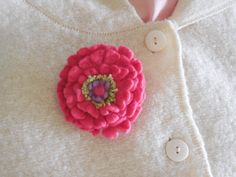 Felted Brooch  pink zinnia  hand dyed and by SPRIGSfeltedflowers, $14.00
