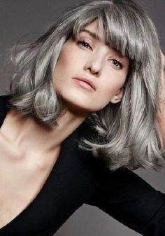 long gray hair on over 60 Long Gray Hair, Grey Wig, Silver Grey Hair, Grey Hair Fringe, Grey Hair Natural, Grey Hair With Bangs, Grey Hair Young, Hairstyles With Bangs, Cool Hairstyles