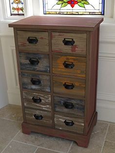 Vintage Rustic Industrial Style Wooden Chest of 10 x Drawers Storage Cabinet