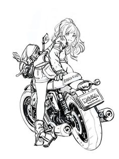 Fantastic Moto bike photos are available on our website. Art And Illustration, Character Illustration, Art Moto, Anime Motorcycle, Art Du Croquis, Poses References, Anime Sketch, Bike Art, Girl Cartoon