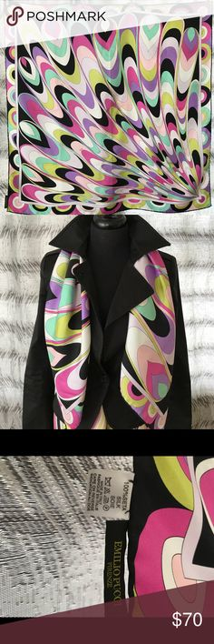 Emilio Pucci Printed Silk Scarf Emilio Pucci Printed silk scarf measures 34 inches x 34 inches. In excellent condition only worn once no spots snags wrinkles etc. beautiful scarf with such fun colors. Purchased at Neiman Marcus Houston did not come with a box. Emilio Pucci Accessories Scarves & Wraps