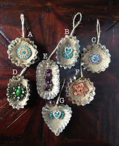 Vintage Jewelry Tart Tin Ornament  Colorful by HomespunKarma
