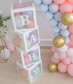 Baby Shower Boxes Party Decorations – 4 pcs Transparent Balloons Décor Boxes with Letter, Individual BABY Blocks Design for Boys Girls Baby Shower Bridal Showers Birthday Party Gender Reveal Backdrop: Toys & Games Baby Shower Balloon Decorations, Gender Reveal Decorations, Kids Party Decorations, Baby Shower Balloons, Decoration Party, Shower Centerpieces, Wedding Decorations, Deco Baby Shower, Baby Shower Parties
