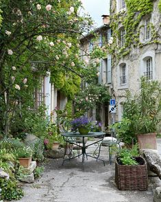 The sweetest little spot, in Saignon, France. You might recall that I showed photos of this darling courtyard last fall. I've also shared a peek at this spot on my IG stories today :) by frenchlarkspur French Courtyard, Courtyard Design, Garden Design, French Patio, Outdoor Rooms, Outdoor Gardens, Outdoor Living, Design Cour, Provence France
