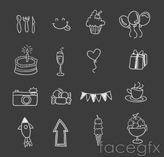 Hand painted birthday elements vector
