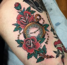 Traditional pocket watch roses rose tattoo