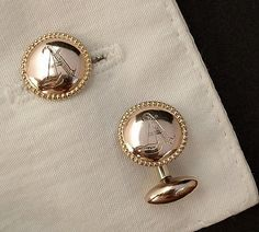 Mens Antique VICTORIAN Cufflinks Gold Filled Engraved Initial A c.1870's