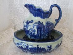 """Flow Blue Victorian Ware Ironstone~8"""" Water Pitcher and Under Bowl"""