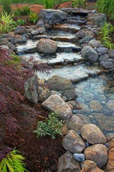 30 Beautiful Backyard Ponds And Water Garden Ideas - Backyard Garden Inspiration Backyard Water Feature, Ponds Backyard, Backyard Landscaping, Backyard Waterfalls, Landscaping Ideas, Waterfall Landscaping, Backyard Stream, Garden Ponds, Backyard Ideas