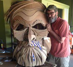 Cardboard Costume, Cardboard Mask, Cardboard Sculpture, Cardboard Paper, Cardboard Crafts, Paper Clay, Puppet Costume, Wayne White, 3d Art Projects